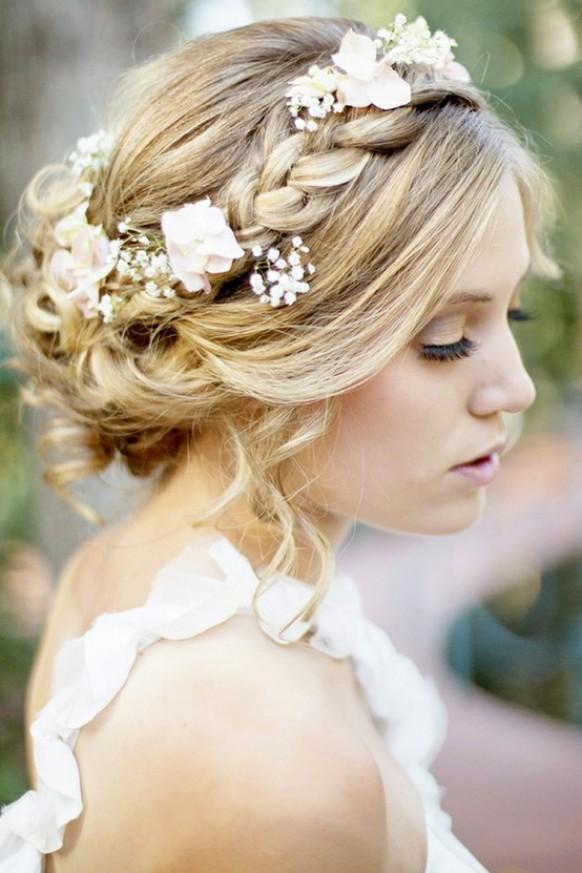 Floral Braided Crown Wedding Bridal Hairstyle 1123478 Weddbook