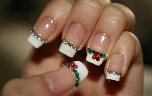 Easy And Best Christmas Nail Art Design French Manicure With Rhinestone Stickers 1901192 Weddbook