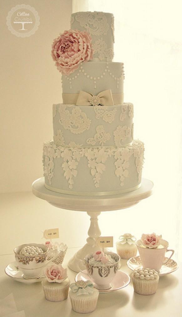 Wedding Cakes - Peony & Lace Wedding Cake #1987446 - Weddbook