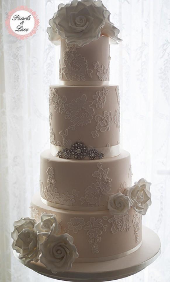 Vintage Wedding Vintage Lace Wedding Cake 1987745