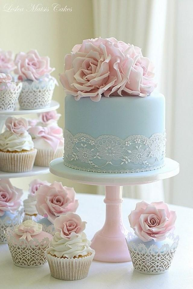blue pink and gold wedding cake | Deer Pearl Flowers |Pink And Blue Wedding Cakes