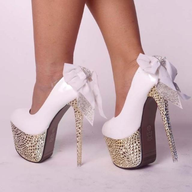 Glitter Studded Spike Diamonds Bow Lace Heels #2042051