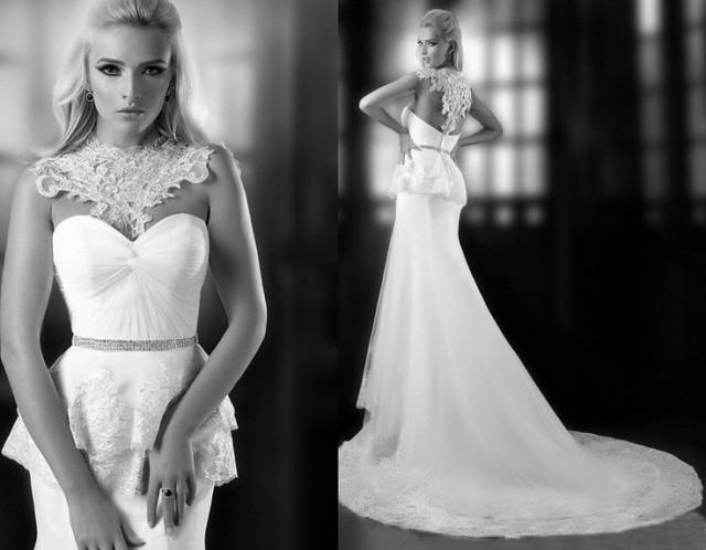 Low Back Lace Wedding Gown: Mermaid Style Tulle Low Back Wedding Dress #2049961