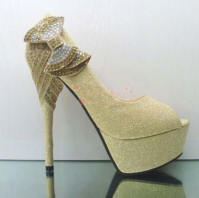 Gold Evening Party Crystal Bead Bows Platform Stilettos ...