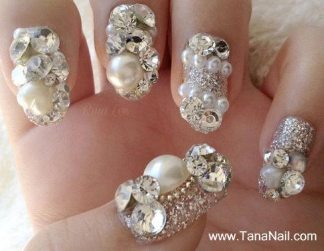 Japanese 3D Nail Art, Press On Nails, False Nails - Beautiful Silver ...
