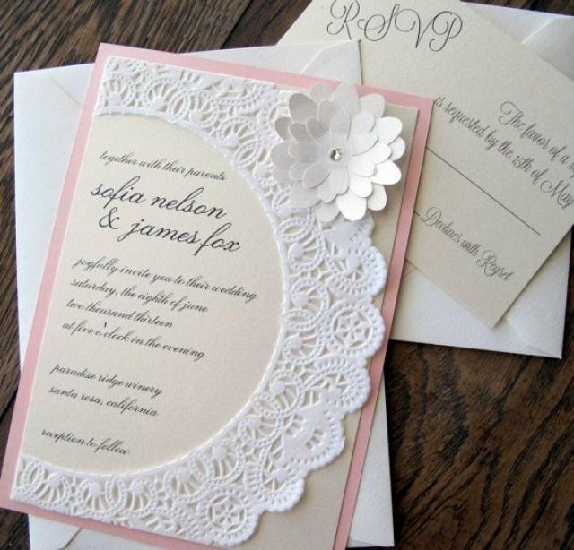 Vintage Shabby Chic Lace Doily Wedding Invitation #2065314