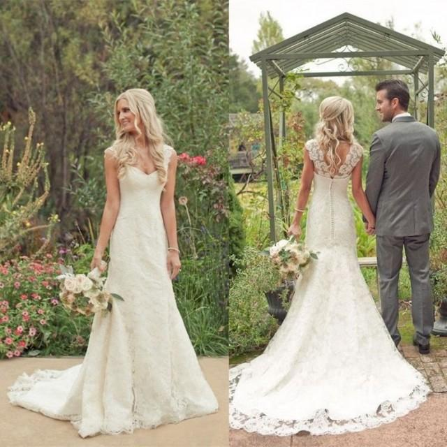 2015 New Lace Wedding Dresses Cap Sleeve White Ivory Bridal Gown With Long Train 2158559 Weddbook