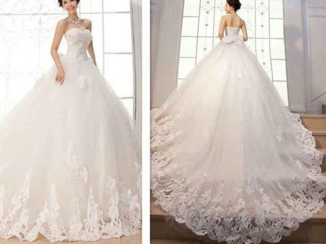 New Appliques Ball Gown Elegant Wedding Dresses Bridal Gowns Custom Long Tail 2160141