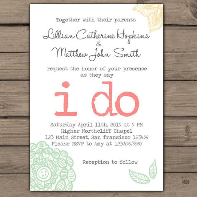Cheap Shabby Chic Wedding Invitations: Wedding Invitation I Do Lace Wedding Invites Typewriter