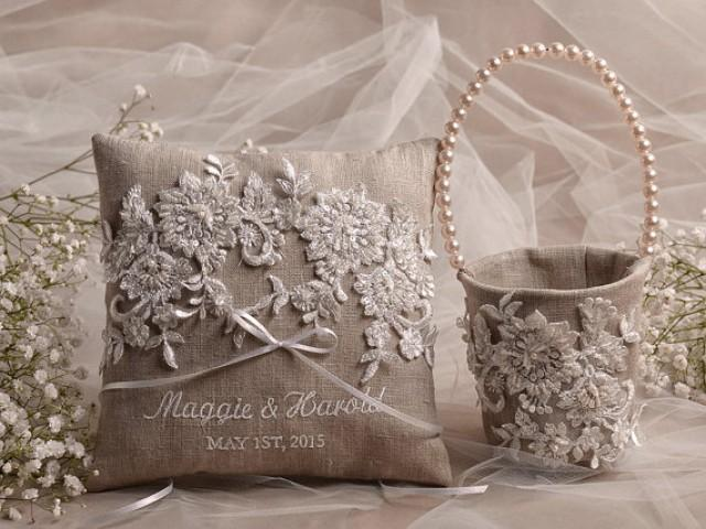 Flower Girl Basket Amp Ring Bearer Pillow Set Shabby Chic