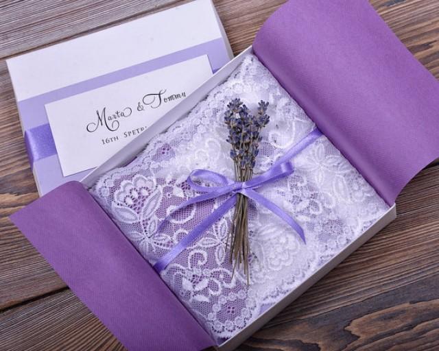 Vintage Handmade Wedding Invitations: Custom Listing (100) Lace And Lavender Wedding Invitation