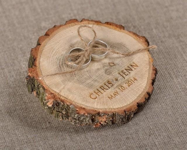 Engraved Wood Wedding Ring Bearer Slice, Rustic Wooden ...