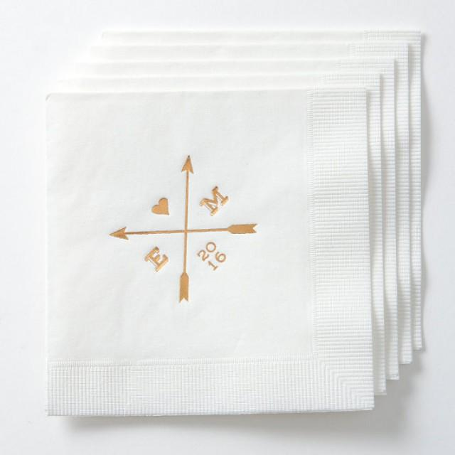 Arrows Personalized Wedding Napkins Set Of 50