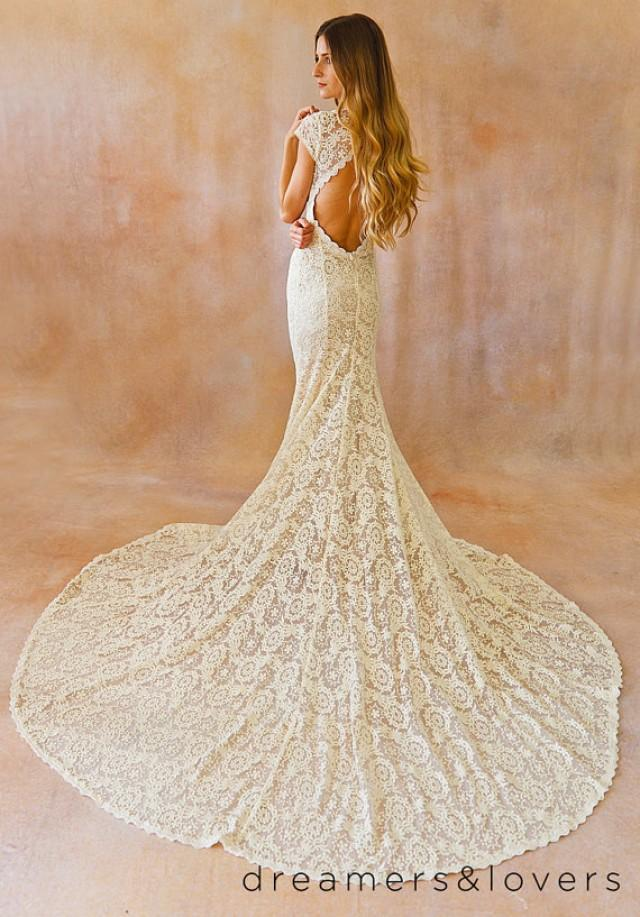 Ivory Lace Bohemian Backless Wedding Gown Simple And
