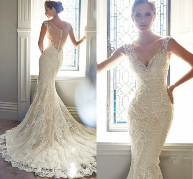 Vintage Style Lace Wedding Dresses: Vintage Ivory Lace Bridal Gowns Long Mermaid Wedding