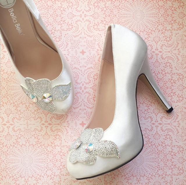 Sale! Crystal Embellished Flower Applique White Ivory
