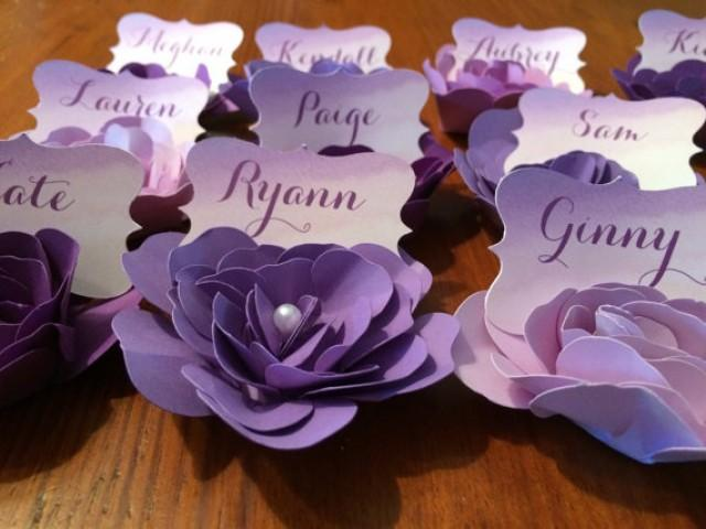 Purple place cards idealstalist wedding gifts paper flower escort place cards 2256963 weddbook solutioingenieria Gallery