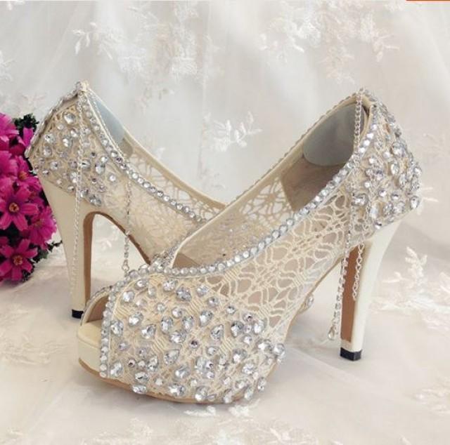 Ivory Shoes Lace Bridal Shoes #2260781