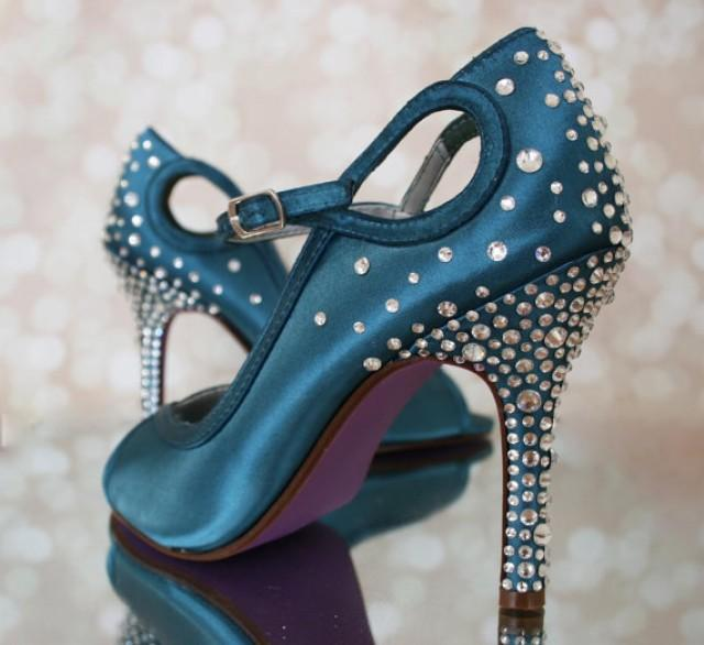 Turquoise Wedding Heels: Dark Turquoise Peep Toe Custom Wedding Shoes #2260807