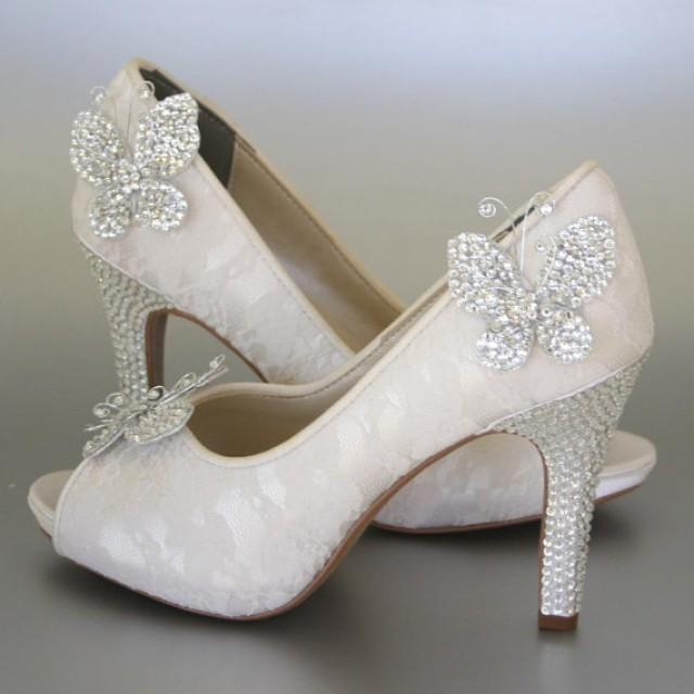 cfd4840ba76d1 Wedding Shoes -- Ivory Peeptoes With Lace Overlay