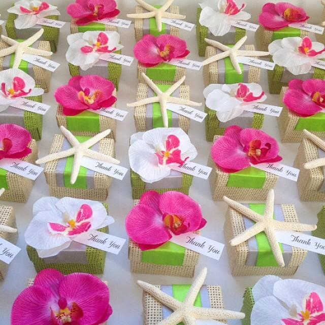 Organic Woven Favor Box With Orchid Accent Tropical Wedding Favors Beach New 2301357 Weddbook