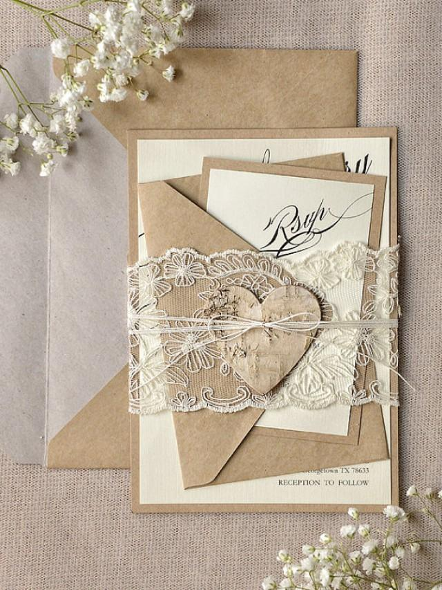 Custom Listing 100 Rustic Lace Wedding Invitation