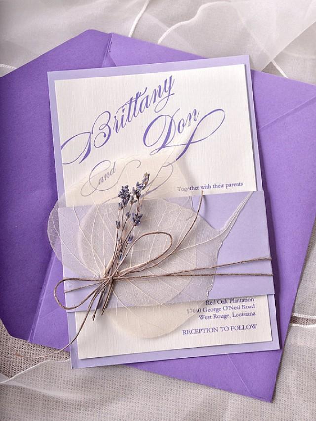 Custom Listing 100 Lavender Wedding Invitations Lace