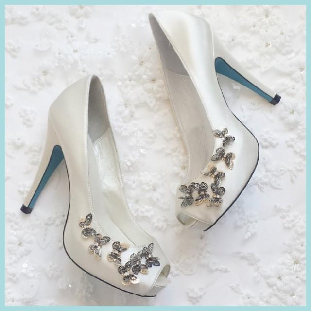 On Sale Silver Butterfly Embellished Something Blue Sole Ivory