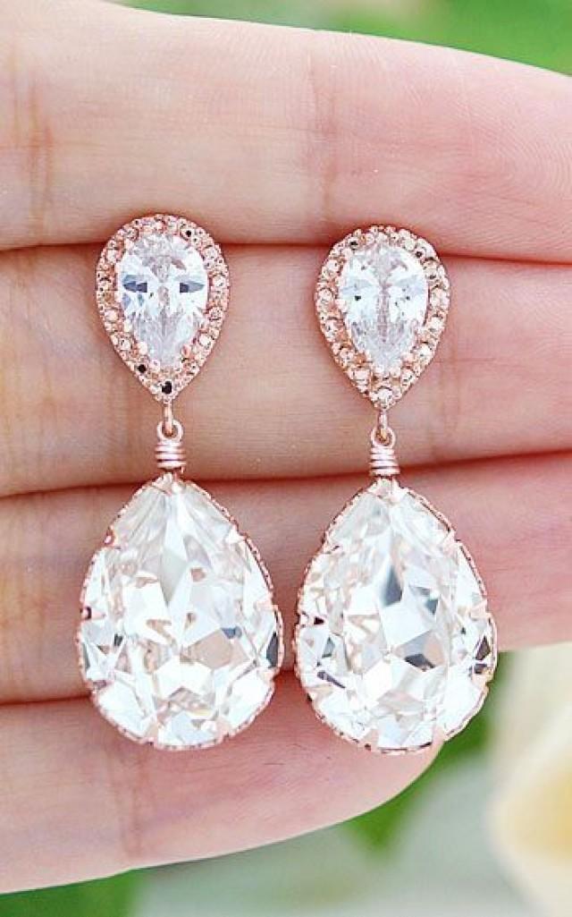 3b4f5fd55 Rose Gold Plated Clear White Swarovski Crystal Tear Drops Bridesmaid  Earrings