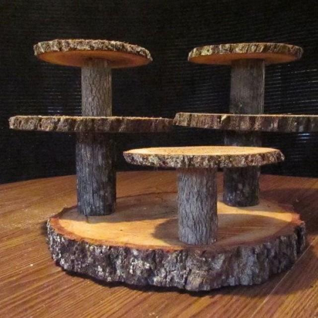 Rustic Wedding Wood Cake Stand: Multi-level Rustic Wood Cupcake Stand #2541491