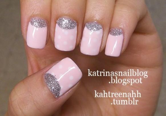 sparkle and glitter wedding half moon manicure �� wedding