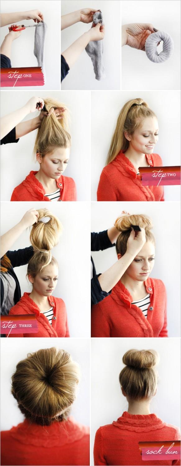 Как сделать шишку на короткий волос фото
