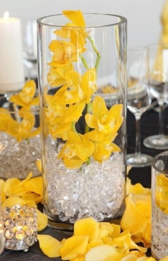 Beautiful yellow and grey wedding centerpieces images styles centerpieces modern wedding centerpieces 797432 weddbook junglespirit Images