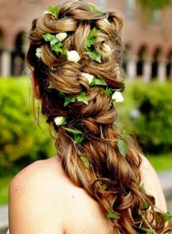 Свадебные прически длинные волосы живыми цветами