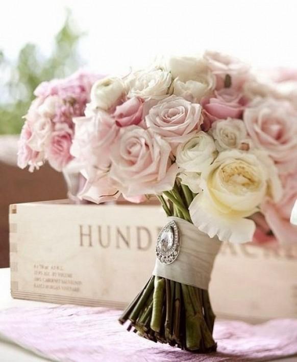 Stunning Wedding Bouquet Vintage Crystal Brooch Satin Ribbon