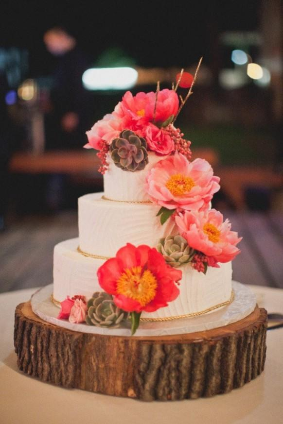 Peony And Succulent Wedding Cake