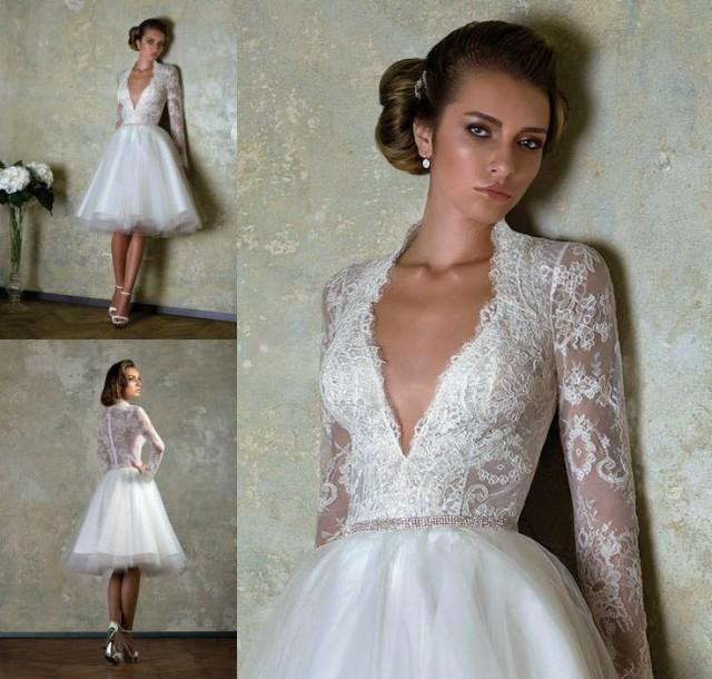 long sleeve short wedding dress 2014 new custom size bridal gown v neck lace 5588
