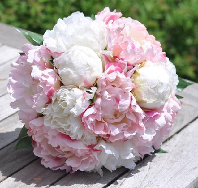 pink flower bouquets for weddings 2 coral ivory peony silk flower keepsake bouquet 2253738 6580